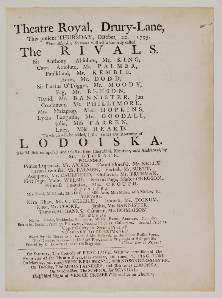 The Rivals playbill